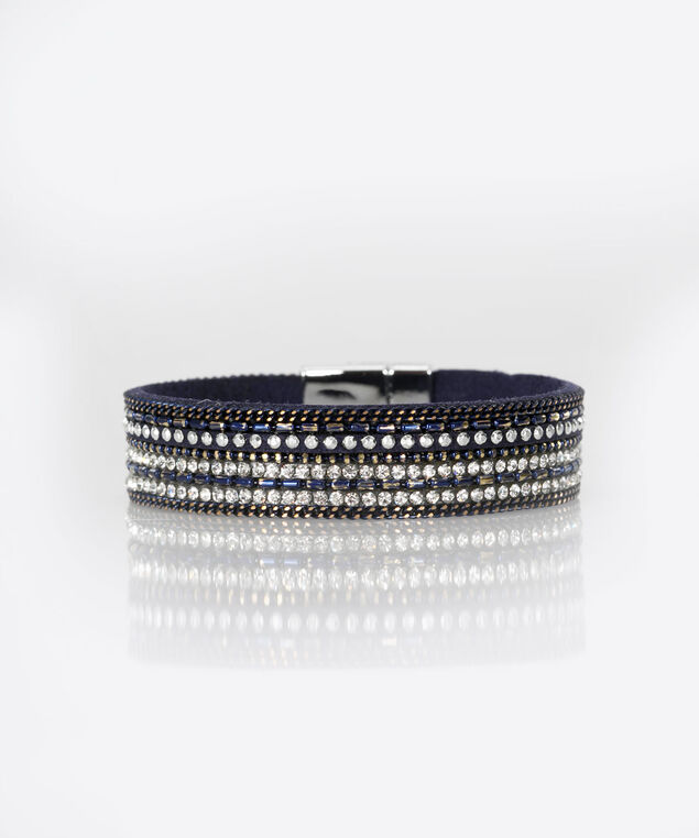 Crystal Faux Leather Wrap Bracelet, Summer Navy/Rhodium, hi-res