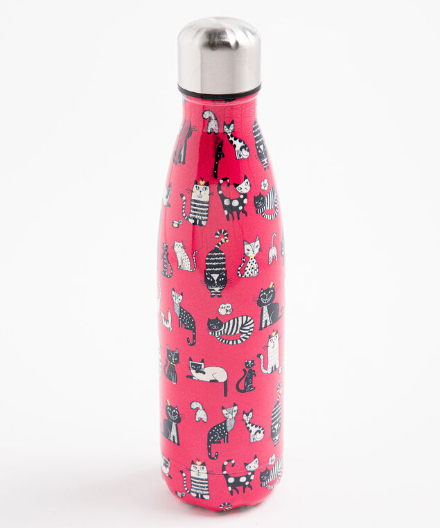 Patterned Insulated Water Bottle, Red Kitty Cats