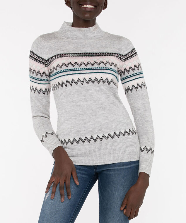 Fair Isle Mock Neck Pullover, Light Heather Grey/Dusty Blush/Black, hi-res