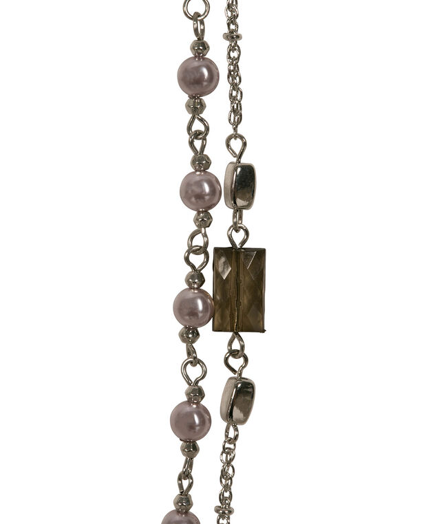 Stationed Pearl & Bead Necklace, Iced Violet/Rhodium, hi-res