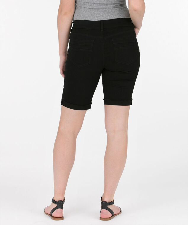 Frayed Hem Bermuda Short, Black, hi-res