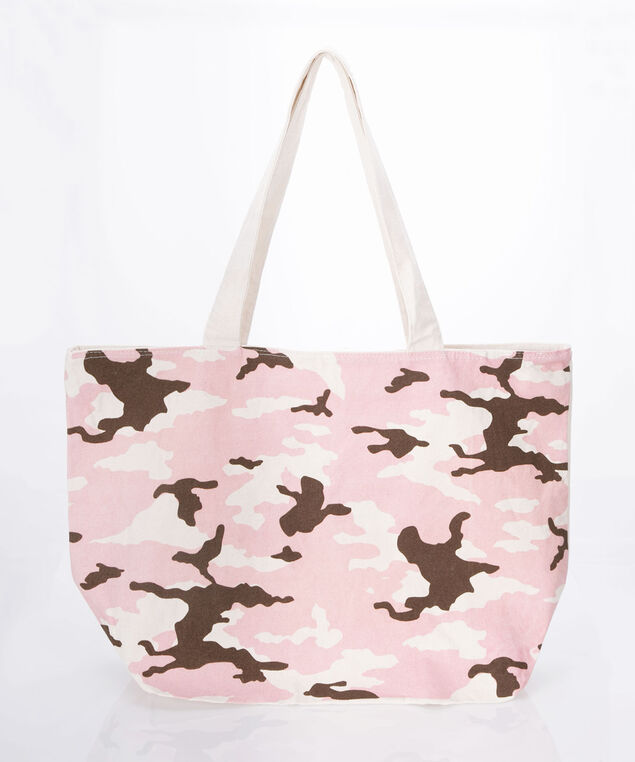 Camo Canvas Tote Bag, Cameo Pink/Brown, hi-res