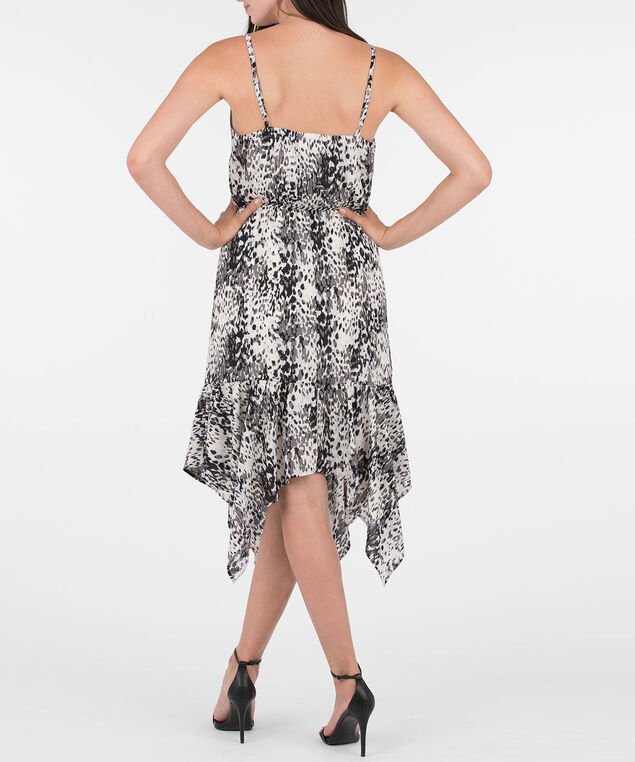 Strappy Wrap Animal Print Dress, Black/Grey/Pearl, hi-res