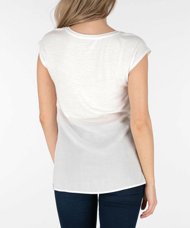 Extended Sleeve Woven Trim Top, Pearl/Pink/Indigo, hi-res
