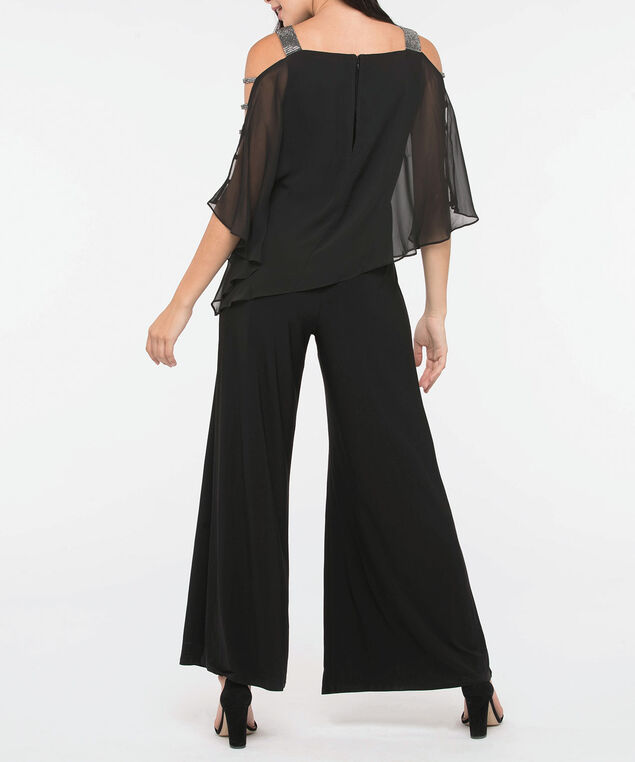 Crystal Trim Cape Overlay Jumpsuit, Black, hi-res