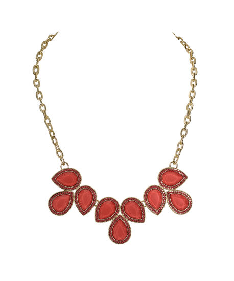 Teardrop Statement Necklace, Coral/Soft Gold, hi-res