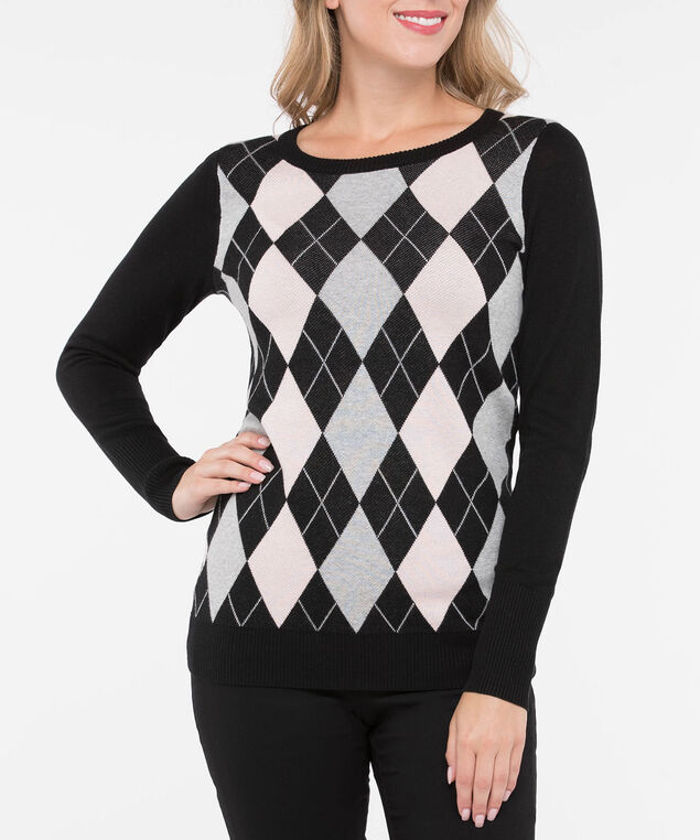 Argyle Pullover Sweater, Mid Heather Grey/Soft Pink/Black, hi-res