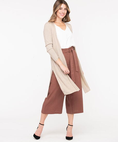 Ribbed Side Slit Duster Cardigan, Oatmeal, hi-res