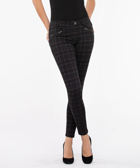 Luxe Ponte Button Front Pull on Pant, Charcoal/Burgundy, hi-res