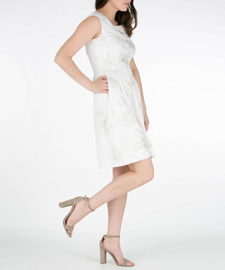Jacquard & Foil Drop Waist Dress, Ivory, hi-res