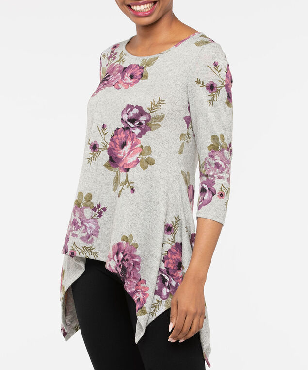 3/4 Sleeve Sharkbite Hem Top, Light Heather Grey/Dusty Pink, hi-res
