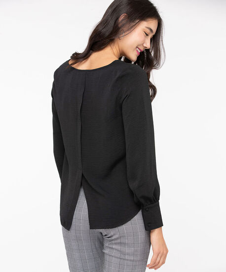 Scoop Neck Split Back Blouse, Black, hi-res