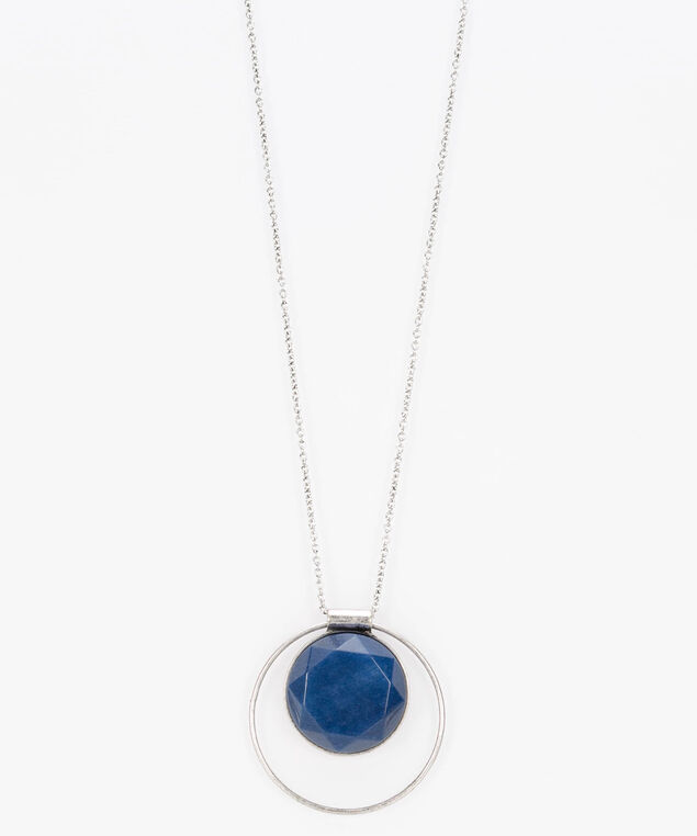 Faceted Stone & Ring Necklace, Ink Blue/Rhodium, hi-res