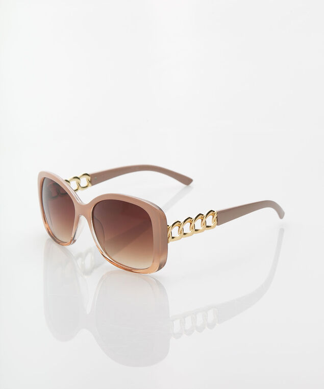 Chainlink Detail Square Sunglasses, Sand/Gold, hi-res