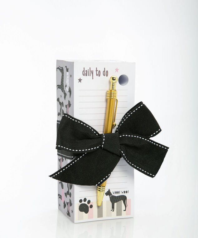 Dog Pattern Memo Pad With Pen, Pearl/Black/Gold, hi-res