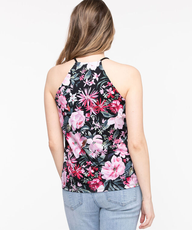 Floral Strappy Halter Top, Black/Soft Blush/Leaf Green