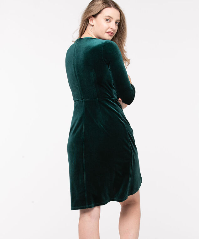 Velvet Wrap Front Dress, Emerald Green, hi-res