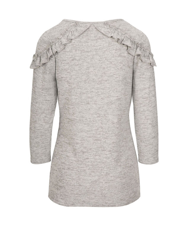 Ruffle Trim Knit Top, Grey, hi-res