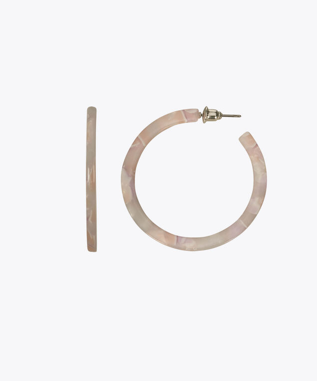 Resin Hoop Earring, Pastel Pink, hi-res
