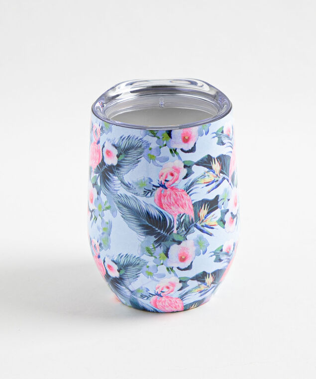 Patterned Insulated Wine Tumbler, Hibiscus
