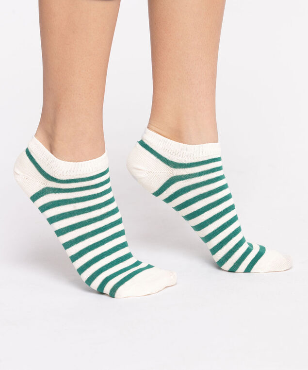 Striped Ankle Socks, White/Seafoam Green Stripe