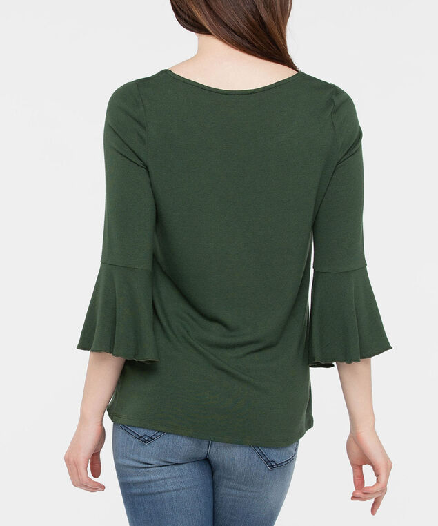 Flounce Sleeve Scoop Neck Top, Autumn Olive, hi-res