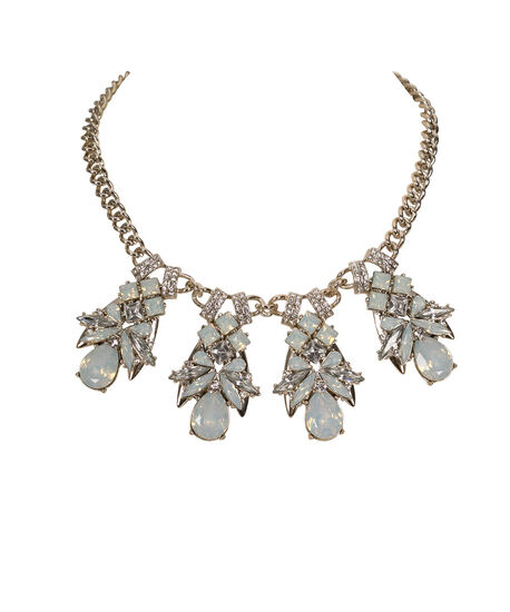 Crystal Statement Necklace, White/Clear/Antique Gold, hi-res