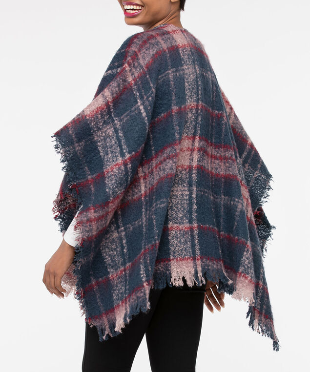 Soft Plaid Ruana, Deep Sapphire/Dusty Pink/Burgundy, hi-res