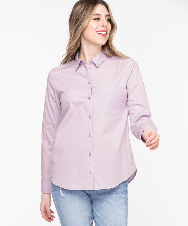 Classic Collared Button-Up Shirt, Orchid Petal