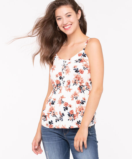 Strappy Smocked Back Top, Pearl/Paprika/Cayenne, hi-res