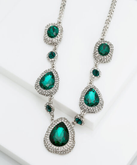 Faceted Teardrop Stone Statement Necklace, Rhodium/Emerald Green, hi-res