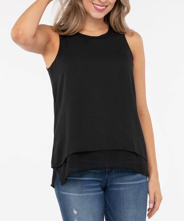 Sleeveless Scoop Neck Layered Blouse, Black, hi-res