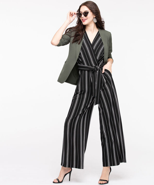 Sleeveless Striped V-Neck Jumpsuit, Black/Pearl, hi-res