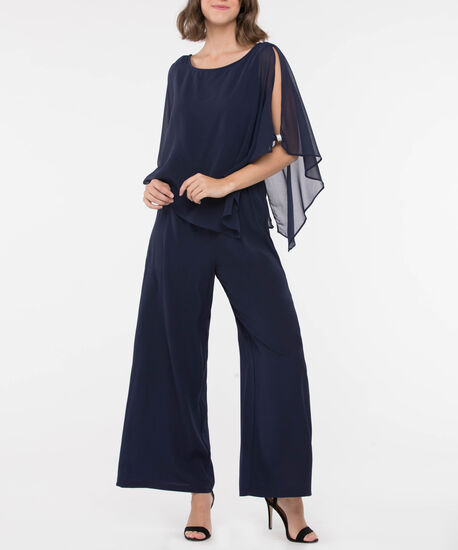 Cape Overlay Sparkle V-Back Jumpsuit, Navy, hi-res