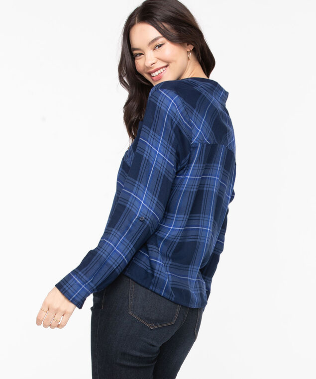 Button Front Drawstring Blouse, Bijou Blue Plaid, hi-res