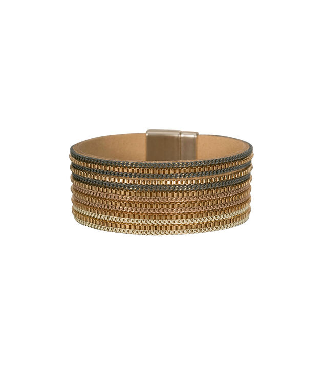 Chain & Faux Leather Cuff Bracelet, Taupe/Grey/Soft Gold, hi-res