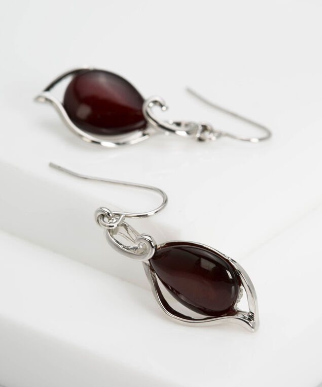 Teardrop Cateye Swirl Earring, Crimson/Rhodium, hi-res