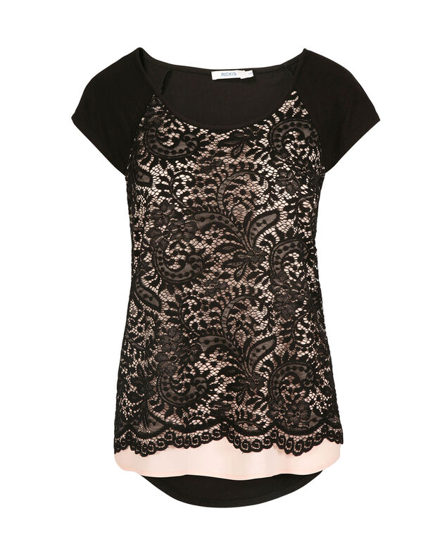 Extended Sleeve Lace Overlay Top, Black/Pink, hi-res