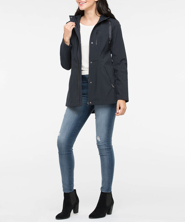 Lace-Up Back Hooded Jacket, Navy/Ivy, hi-res