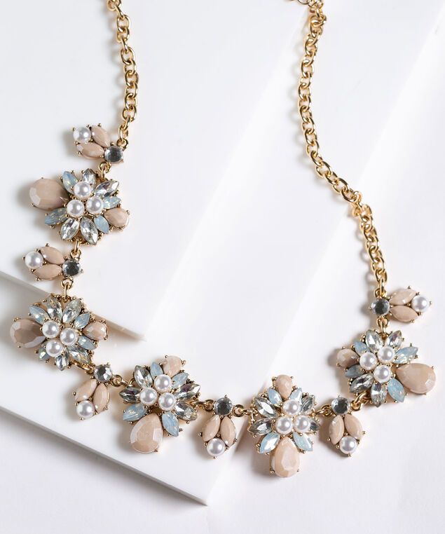 Crystal & Pearl Statement Necklace, Pink/Pearl/Gold, hi-res