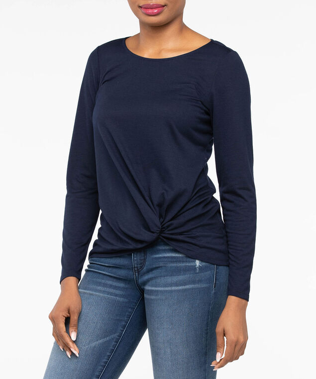 Long Sleeve Knot Front Top, Deep Sapphire, hi-res