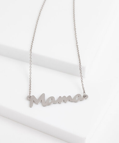 """Mama"" Stationed Pendant Necklace, Silver, hi-res"