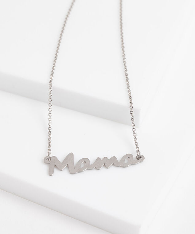 """Mama"" Stationed Pendant Necklace, Silver"