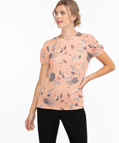 Puff Sleeve Hacci Top, Pink Floral, hi-res