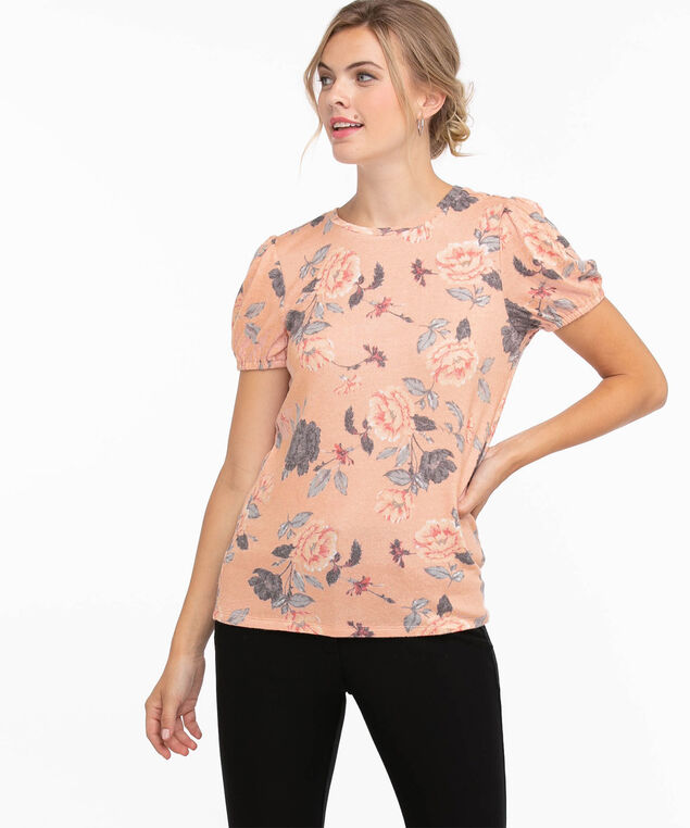 Puff Sleeve Hacci Top, Pink Floral
