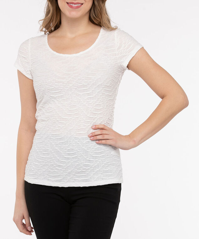 Textured Short Sleeve Scoop Neck Top, Pearl, hi-res
