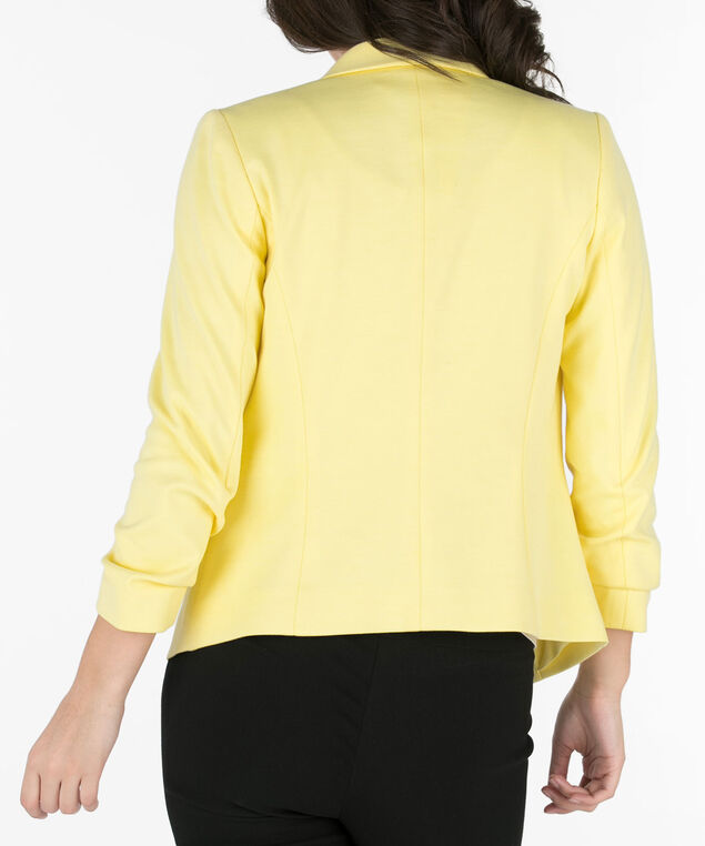 Knit Notch Collar Open Blazer, Yellow, hi-res