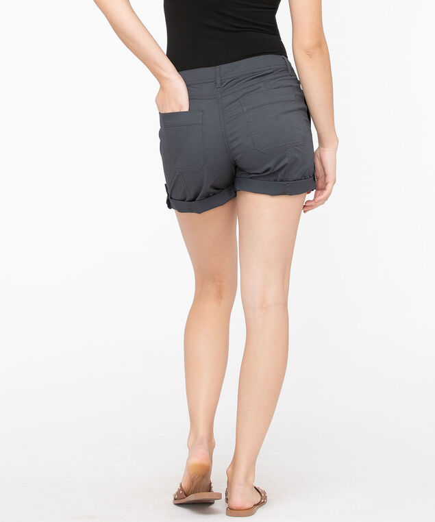Roll Tab Poplin Short, Charcoal, hi-res