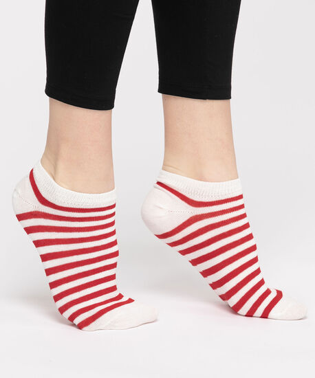 Red Striped Ankle Socks, Red/White, hi-res