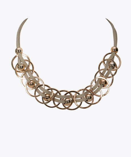 O Ring Statement Necklace, Grey/Rose Gold, hi-res